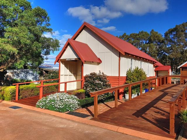 Recent photo of Cowaramup Congregational Church now located at Taunton Farm Holiday Park