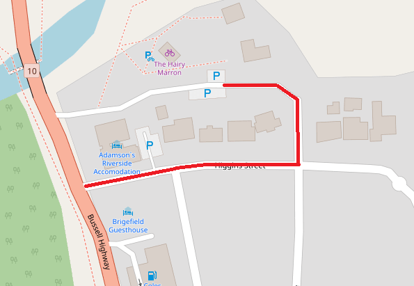 Map: Access to the Historical Society is through Higgens Street.