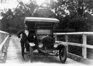 Ned Higgins on the old Alexandra Bridge in the 1920s
