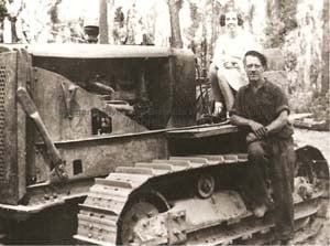 First Cletrac (Caterpillar) tractor used to haul logs in the bush, 1936