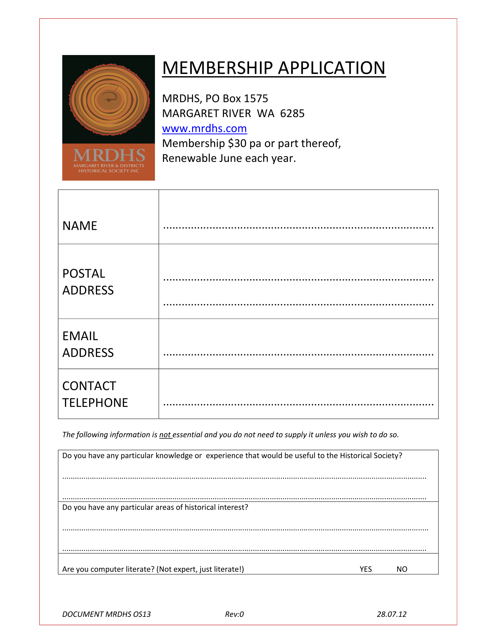 Open membership application form