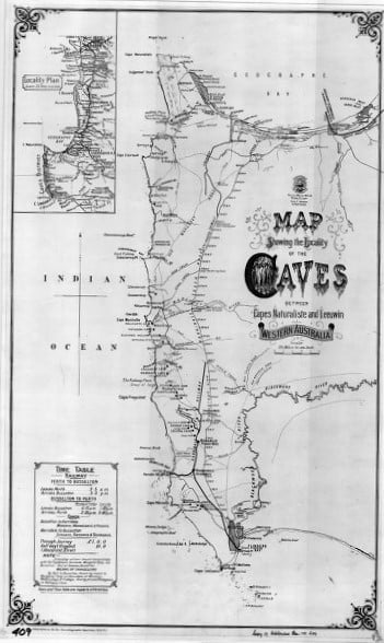 Map showing the locality of the caves between Capes Naturaliste and Leeuwin